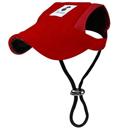 Pawaboo Hunde Baseball Cap Mütze Basecap Baseballmütze Hut Hundecap mit Ohrlöchern für Welpen Haustier, S, Rot