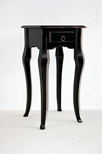 Casa Massivholz Wandtisch schwarz antik 80 cm hoch Telefontisch Vintage Beistelltisch Shabby-Chic Guéridon