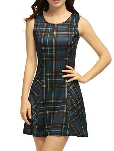 Allegra K Damen Tartan Kleider Rundhalsausschnitt Ärmelloses Mini-A-Linien-Kleid Blau M