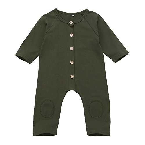 Image of Infant Baby Boy Girl Long Sleeve Romper Jumpsuit with Bottons Playsuit Outfit Clothes (6-9 Months, Dark Green)