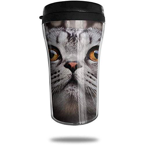 Taza de café de viaje británica de pelo corto Taza de vacío portátil impresa en 3D, vasos de botella de agua con taza de té aislada para beber con tapa 8.54 oz (250 ml)