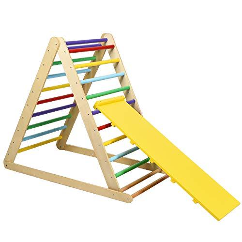 COSTWAY Kletterdreieck klappbar, Klettergerüst mit Leiter aus Holz, Sprossendreieck zur Entwicklung grobmotorischer Fähigkeiten, für Kleinkinder ab 3 Jahren, Mehrfarbig