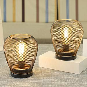 JHY DESIGN Set of 2 Metal Cage LED Lantern Battery Powered,Cordless Accent Light with LED Edsion Style Bulb.Great for Weddings,Parties,Patio,Events for Indoors Outdoors(Diamond Shape)