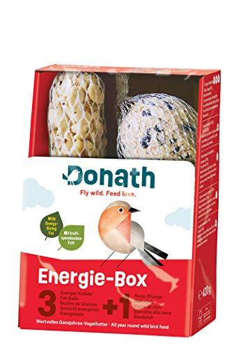 Donath Energie-Box 3+1 - 3 Meisenknödel im Netz a 100g und 1 Nussstange a 120g - viel Abwechslung - wertvolles Ganzjahres Wildvogelfutter - aus unserer Manufaktur in Süddeutschland