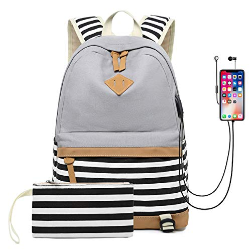DNFC School Backpack with USB Charging Port Casual Canvas Striped Bag Daypack Large Capacity Rucksack for Teenager Girls Boys College Student (Grey)