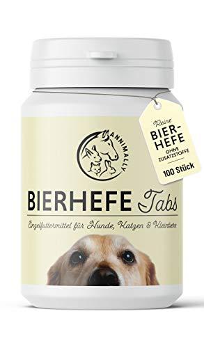 Annimally Bierhefe Hund 100 Tabletten für glänzendes Hundefell und Vitale Haut - 100% Reine Bierhefetabletten für Hunde Reduziert nährstoffmangel-bedingtes Haaren