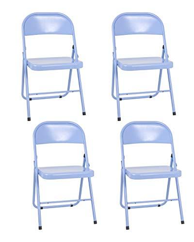 HAKU Möbel 4er Set Klappstühle, Stahlrohr, blau, 46 x 47 x 78