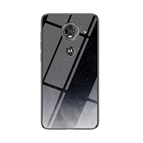 SHIEID Carcasa para Motorola Moto E5 Plus,Mármol Vidrio Templado de Case Cover Ultra Fina Silicona Gel Caja Carcasa Antideslizante de Carcasa Blanda para Motorola Moto E5 Plus (Luna Luna Creciente)