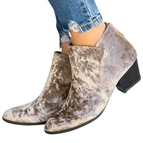 seanxw Fashion Suede Short Boots for Women Autumn Winter Roman Style Thick Heel Pointed Toe Ankle Boots Women's Cut Out Slip On Shoes