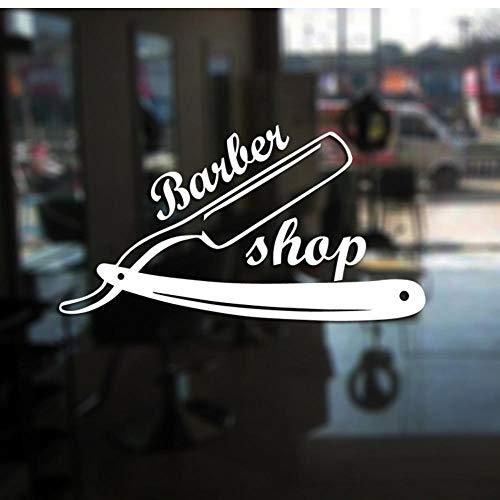 MRQXDP Barber Shop Sticker op maat Decal Posters Vinyl Wall Art Decor Ramen Decoratie Haircut Shavers Glass Decals 31x58cm Muursticker