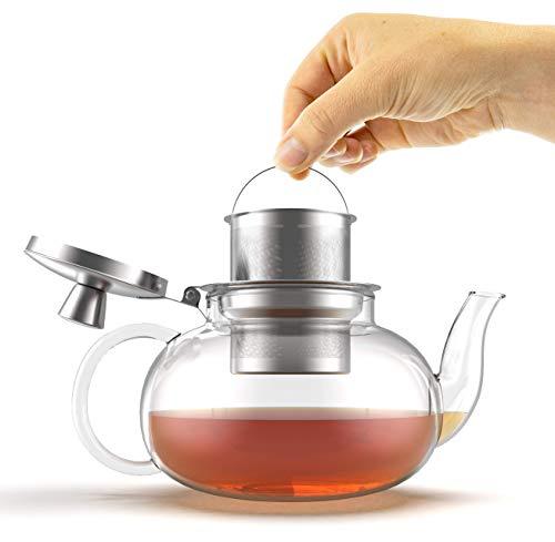 Verre Collection Herd Glas Teekanne Wasserkocher mit abnehmbarer Edelstahl-Ei, lose Teeblätter, Herd Sicher Tee Topf und Sieb 25 Ounce farblos