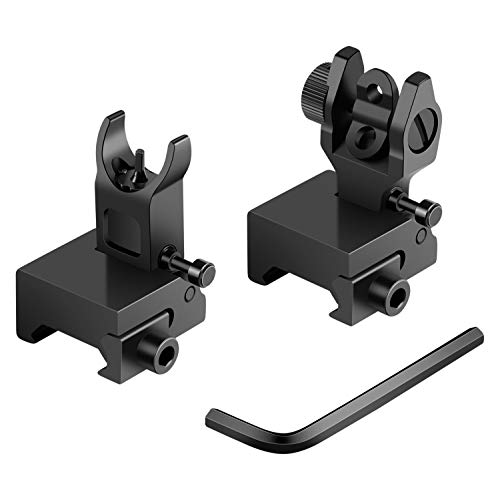TianTac Flip up Sight, Front Rear Iron Sight, Backup Rapid Transition Sight for Picatinny & Weaver Rail