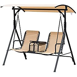 Outsunny 2 Person Covered Porch Swing with Pivot Storage Table, Cup Holder, & Adjustable Overhead Canopy, Beige