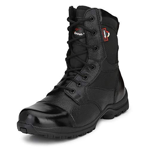Mikaasa Men's Black Genuine Leather Spider 003 Military and Tactical Boot 7 IND