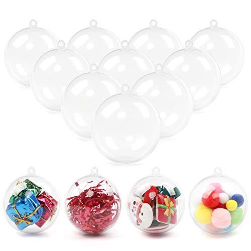 Bola de Navidad transparente 24 piezas de adorno rellenable para manualidades, bola de Navidad transparente, adorno de Navidad para bodas, fiestas, Navidad, decoración del hogar, regalo (60 mm)