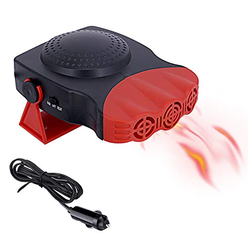Car Heater 12V 150W, 3-Outlet Plug in Cigarette Lighter Portable Windscreen Fan with High Power Car Heater and Cooling Fan for Fast Heating Defrost Defogger (Red)