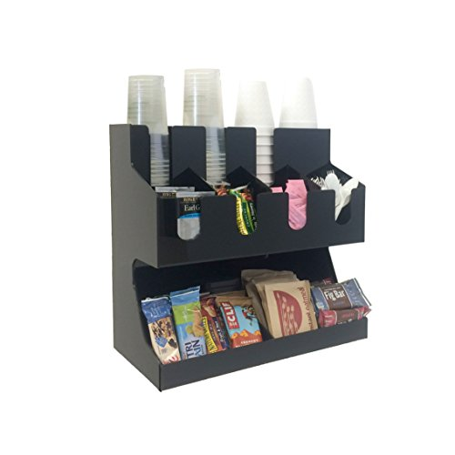 Mind Reader Coffee Condiment and Accessories Caddy Organizer, For Coffee Cups, Stirrers, Snacks, Sugars, etc. Black