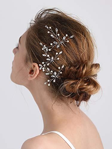 Fxmimior Brautschmuck, Haarschmuck, Kristall-Haarspangen, Retro-Haarclips mit Blatt-Strass für Hochzeitsfeste, Kopfschmuck für Frauen, 3er-Set
