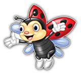 DG Graphics Cute Ladybug Cartoon Art Decor 5'' x 5'' Magnet Vinyl Magnetic Sheet for Lockers, Cars, Signs, Refrigerator