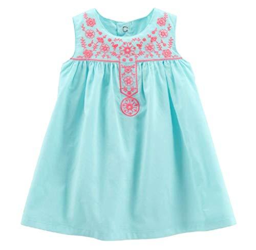 Carter's 2 TLG. Babykleid 56 62 68 74 80 Sommerkleid Bestickt hellblau US Size 3 6 12 18 Month Girl Dress Kleid mit Höschen (74/80)