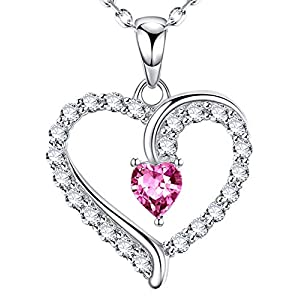 Pink Tourmaline Zircon Heart Shape Necklace | Birthday Gifts For Her