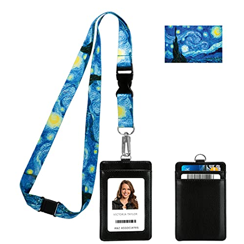 Vincent Van Gogh the Starry Night Print Lanyard with PU Leather ID Badge Holder Wallet with 3 Card Pockets, Safety Breakaway Clip & Matching Note Card. Lanyard for Cruise or Work