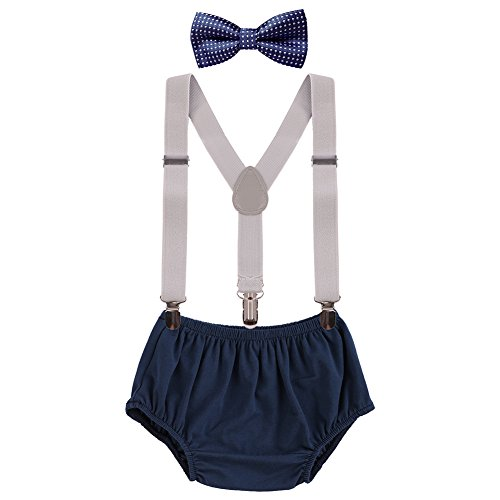 Baby Boys Cake Smash Clothes Diaper Suspenders Pants Bow Tie 3PCS Set First 1st 2nd Birthday Outfit for Photo Prop Party Gray + Navy Blue Dots 3-24 Months