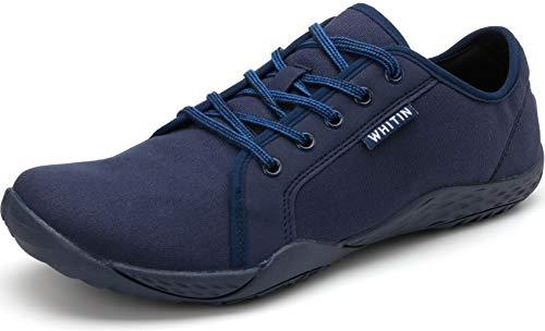 WHITIN Herren Canvas Sneaker Barfussschuhe Traillaufschuh Barfuss Schuhe Barfußschuhe Barfuß Barfußschuh Minimalistische Training Laufschuhe für Männer Jungen Sportschuhe Blau 40 EU