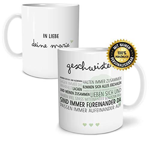 OWLBOOK Geschwister Liebe große Kaffee-Tasse mit Namen personalisiert im Geschenkkarton schöne Geschenkidee Geschenke für Bruder oder Schwester