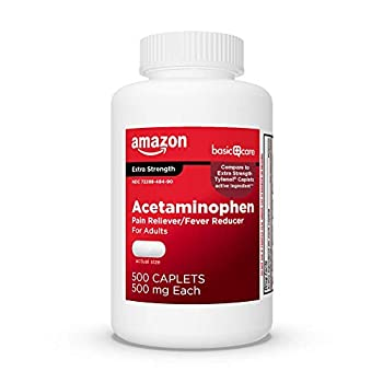 Amazon Basic Care Extra Strength Pain Relief Acetaminophen Caplets 500 mg White 500 Count Pack of 1