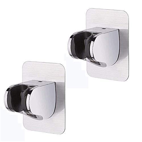 2 supporti per soffione doccia a parete Moun t per doccia senza chiodi a ventosa per vetro del bagno con disco adesivo