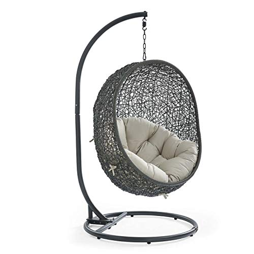 Modway EEI-2273-GRY-BEI Hide Wicker Rattan Outdoor Patio Porch Lounge Egg Set, Swing Chair with Stand, Beige