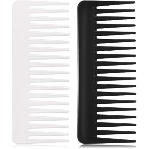 Großer Haarentwirrung Kamm Breiter Zahnkamm für Lockiges Haar Nasses Trockenes Haar, Kein Griff Detangler Kamm Styling Shampoo Kamm (Schwarz, Weiß)