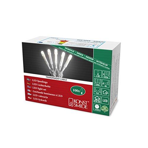 Konstsmide 6344-123 Micro LED Lichterkette, gefrostet / für Innen (IP20) / 100 warm weiße Dioden / 30V Innentrafo / transparentes Kabel