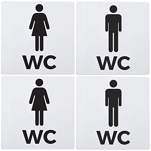 Bamodi XXL WC Schild selbstklebend - Doppelpack Toilettenschilder Damen und Herren - Eindeutiges und einfach anzubringendes Toilettenschild WC Aluminium