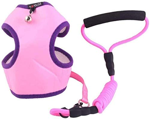 YIFEID Dog Lead Dog Leash Adjustable Chest Strap Head Harness Bell For Small And Medium Dogs Walking Leash Course,Pink,Small