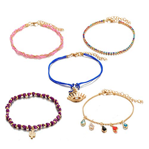 U/N Drop Colorful Stone Anklets for Women Cactus Purple Bead Feet Chain Bohemain Jewelry