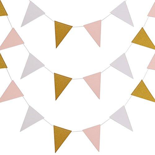 3M Dreieck Flag Bunting Banner, Borte Doppelseite Glitter Bunting Papier Fahnen für Party Bunting Party Dekoration