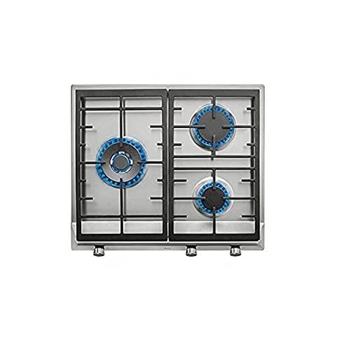 Teka - Placa de 60 cm con 3 quemadores de alta eficiencia y parrillas de fundición de gas butano, Acero inoxidable, 8.4 x 58 x 50 cm