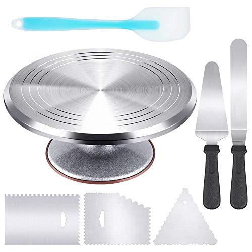 Soporte giratorio de aleación de aluminio de 30,48 cm para tartas con glaseado en ángulo de 32,32 cm, 3 peines para glaseado, espátula de silicona para pastel/cortador de herramientas de decoración