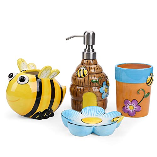 FORLONG FL3019 Ceramic Bathroom Accessories Set, 4 Piece 3D Bee and Flower Bathroom Ensemble Set with Toothbrush Holder, Toothbrush Cup, Soap Dispenser, Soap Dish