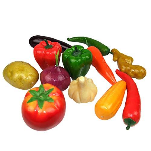 Justdolife 12PCS Hortalizas Artificiales Realista Surtido de Decoración de Casa Verduras Conjunto de Alimentos Decorativos