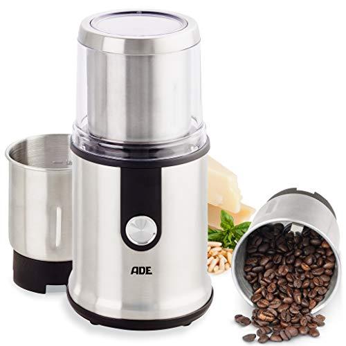 ADE KA1805 elektrische Kaffeemühle Multifunktions-Mühle Gewürzmühle (Zerkleinerer, 2 Mahlbehälter, extrascharfe Klingen, GS-zertifiziert), Edelstahl, 300 milliliters