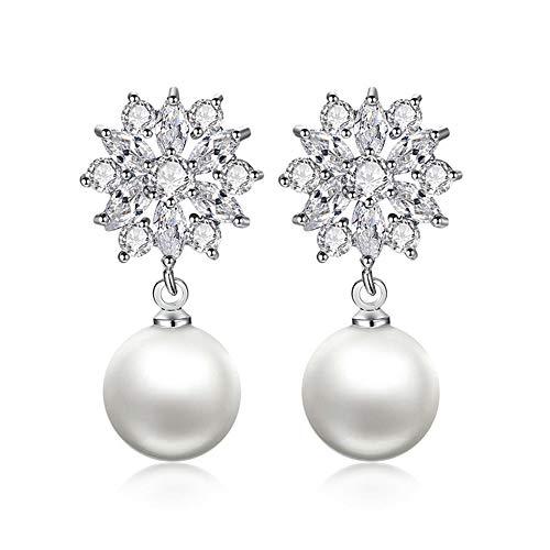 Pendientes con diseño de copo de nieve transparente Pendientes colgantes de boda de circonita cúbica de perlas simuladas para mujer