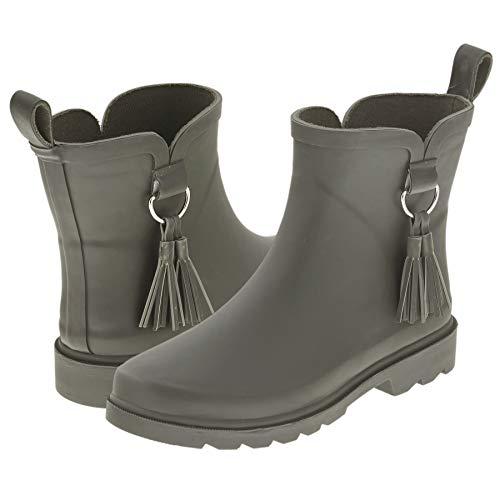 Capelli New York Ladies Short Solid Matte Rain Boot with Tonal Tassel Olive 9