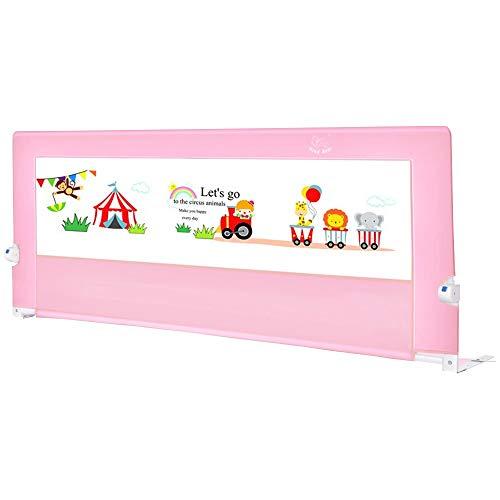 Barriera letto HUO Bambini Sponda Ribaltabile Pieghevole Universale Safety 1st Viaggio Pieghevole, Sponda di Sicurezza Portatile (Color : Pink, Size : 180cm)