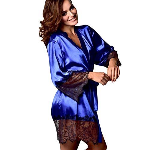 MRULIC Damen Kimono Dressing Babydoll Spitze und Seide Dessous Bademantel Frühling und Herbst Nachtwäsche Robe Nightwear Kleid Morgenmäntel(Blau,XL)