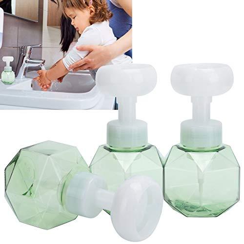 Botella de espuma, fuerte botella de subpaquete de cosméticos de 300 ml con cabeza de 3 tornillos para baño(Transparent green flower sparkling bottle)