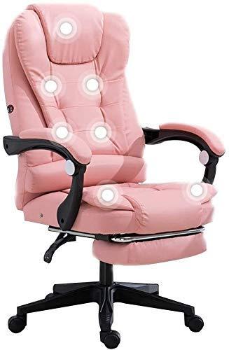 N&O Renovation House Leder Schreibtisch Gaming Stuhl mit Fußstütze 7-Punkt-Massage Ergonomischer Büro-Computerstuhl mit hoher Rückenlehne Tragfähigkeit: 330 Lbs (Größe: Weiß)