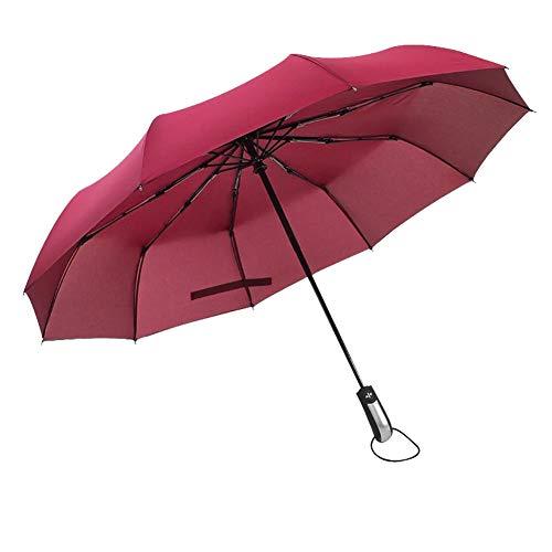 Fablcrew Automatischer Regenschirm Sonnenschirm Kunststoff durchsichtig Taschenschirm automatischem Knopf Sturmfest klein leicht kompakt windsicher stabil Schirm Size 105cm (Weinrot-A)